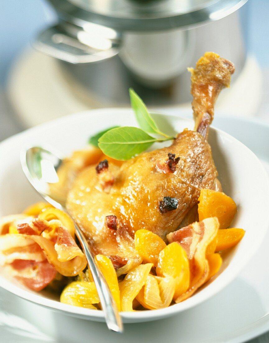 Free-range leg of duck stew