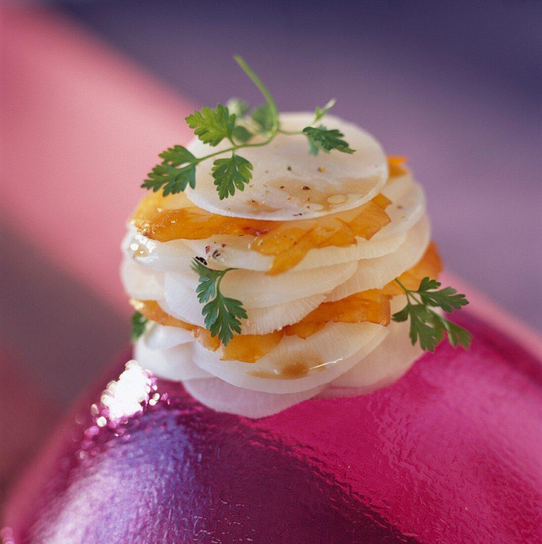 Layered haddock and turnips