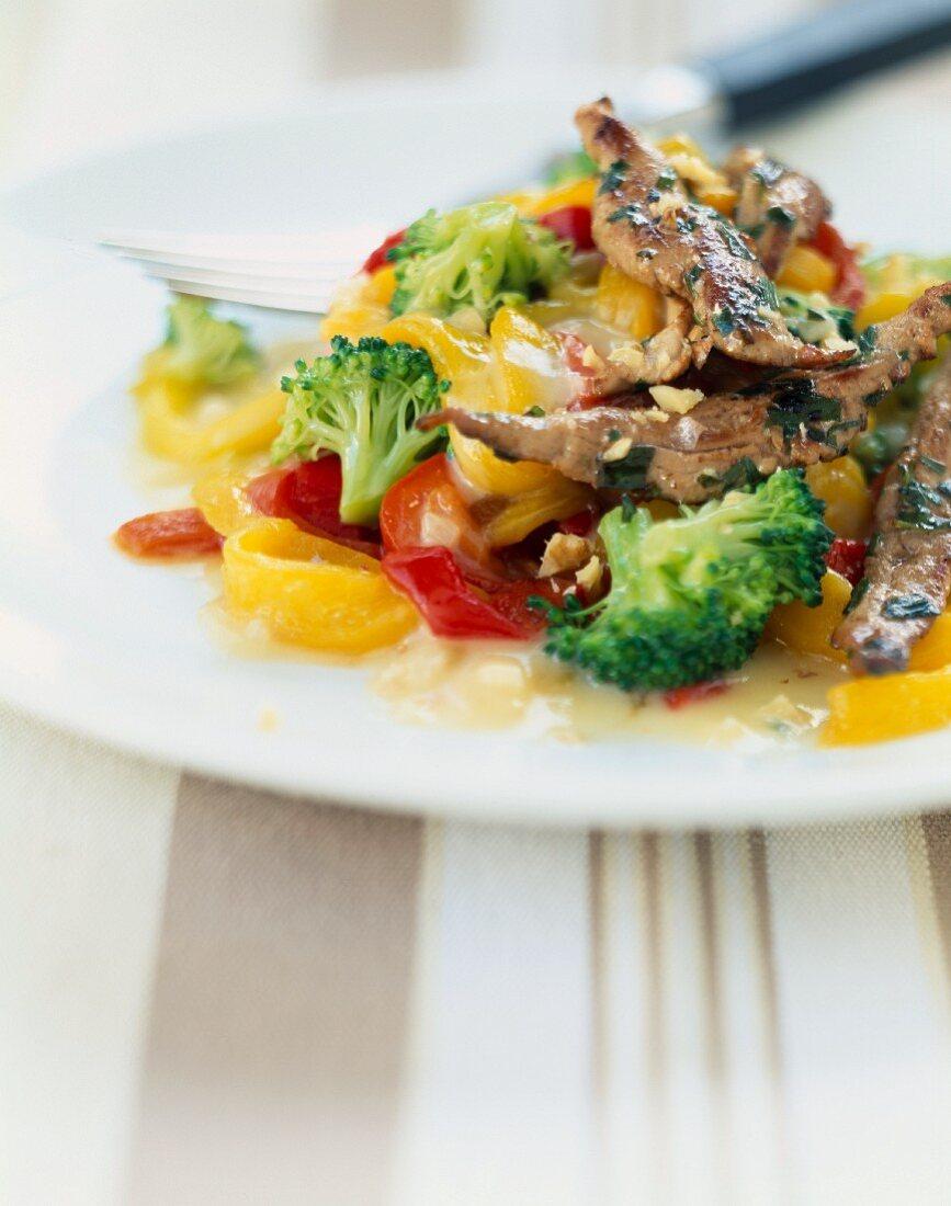 Warm duck , vegetable and tarragon salad