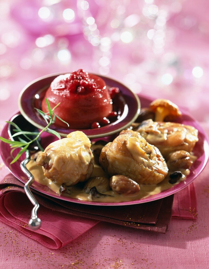 Capon fricassee with foie gras sauce