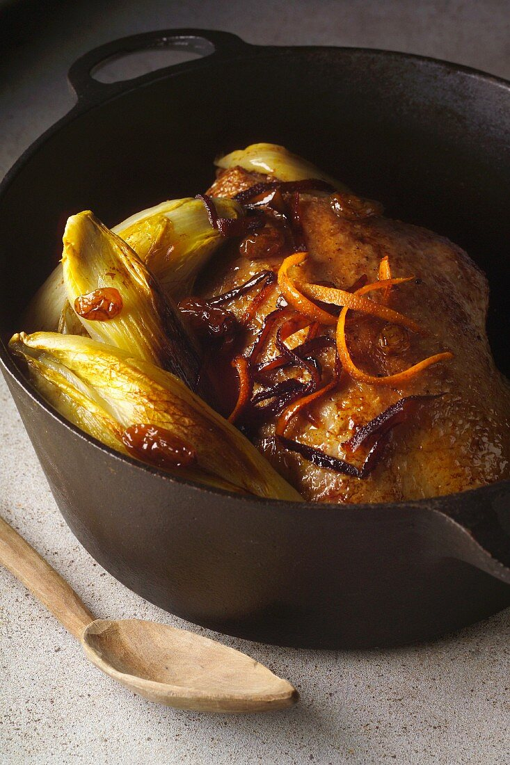 roast duck with orange preserved French chicory (topic: Robuchon recipe)