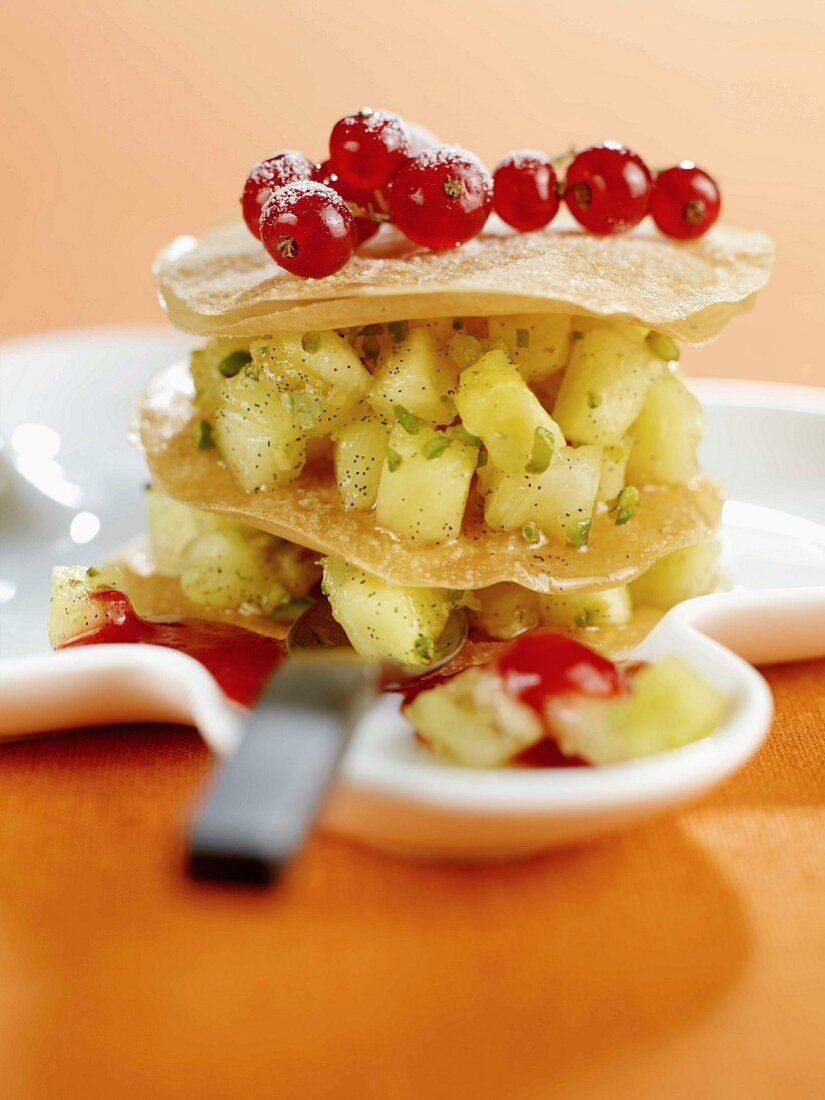 Pineapple and redcurrant mille-feuille