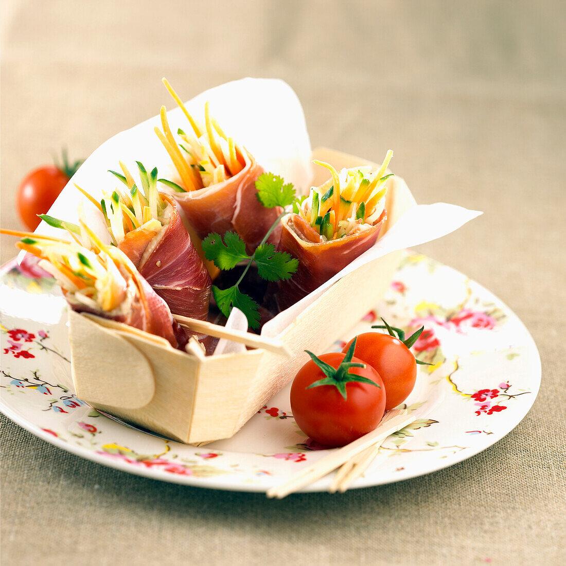 raw ham and vegetable wraps