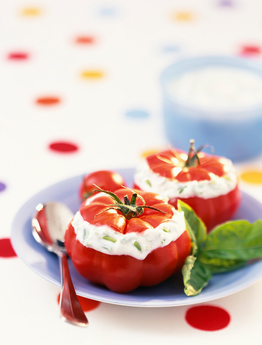 beef tomato stuffed with fromage frais