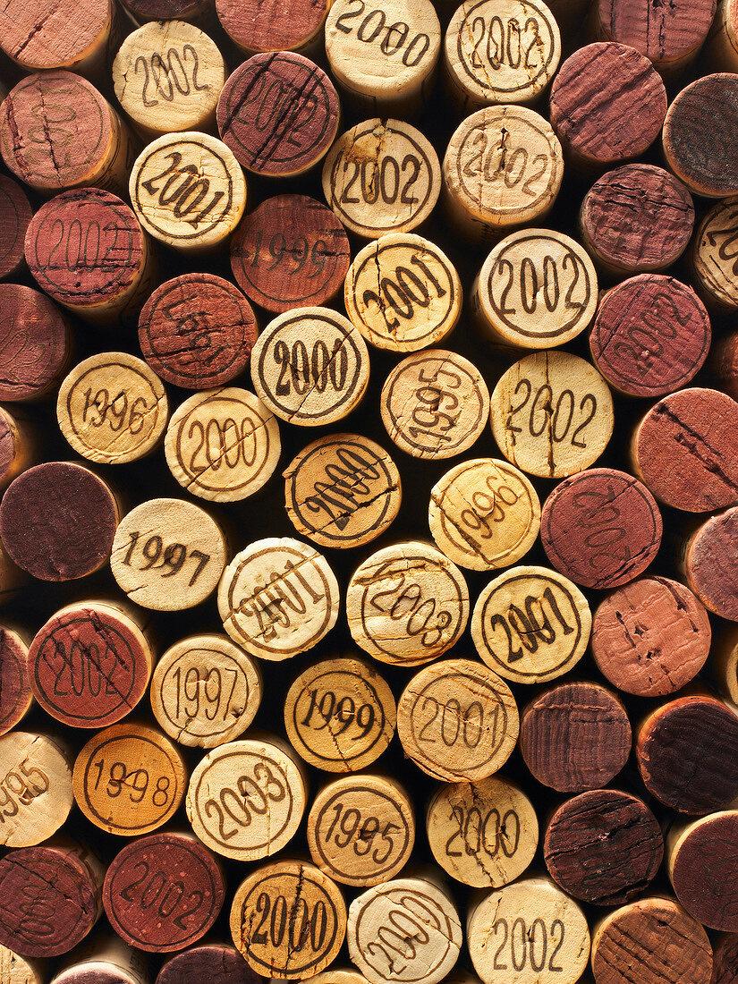 Corks from vintage wine bottles