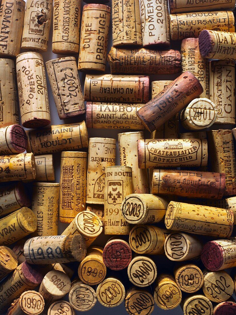 Corks from bottles of vintage wine