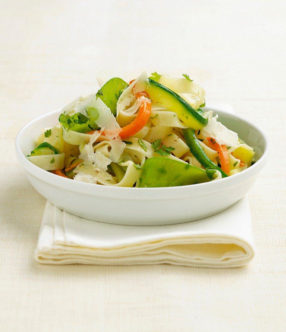 Tagliatelle salad with parmesan
