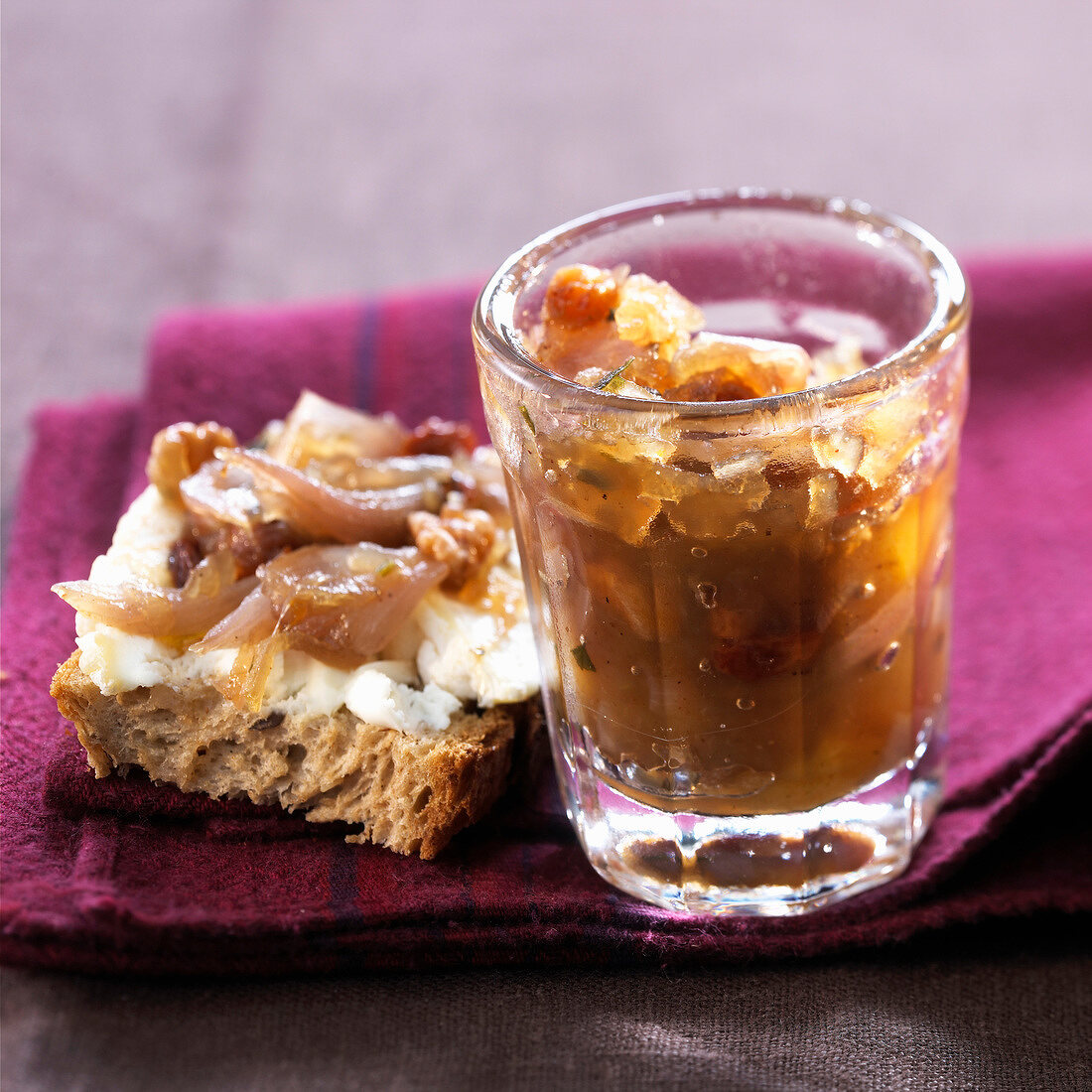 jar of shallot chutney and goat's cheese and shallot chutney open sandwich