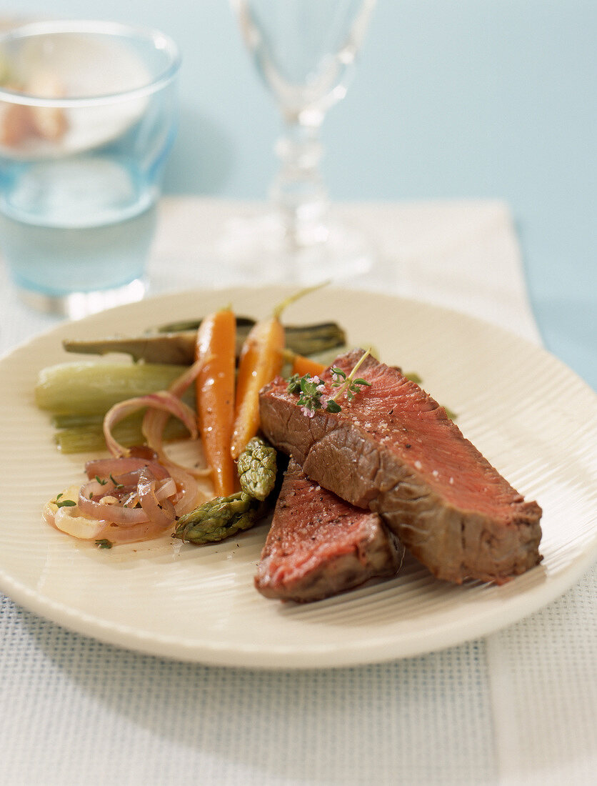 medium cooked beef fillet with small vegetables