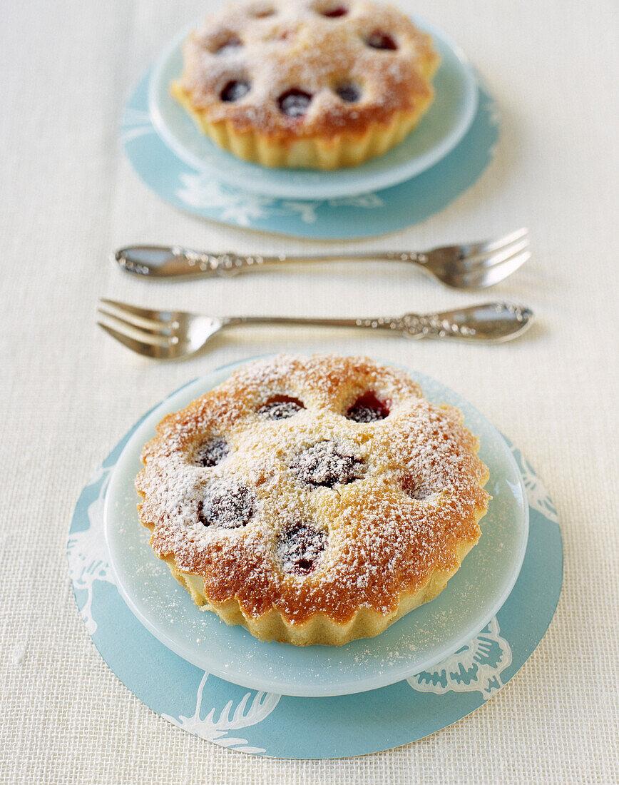 Individual moist cherry cakes