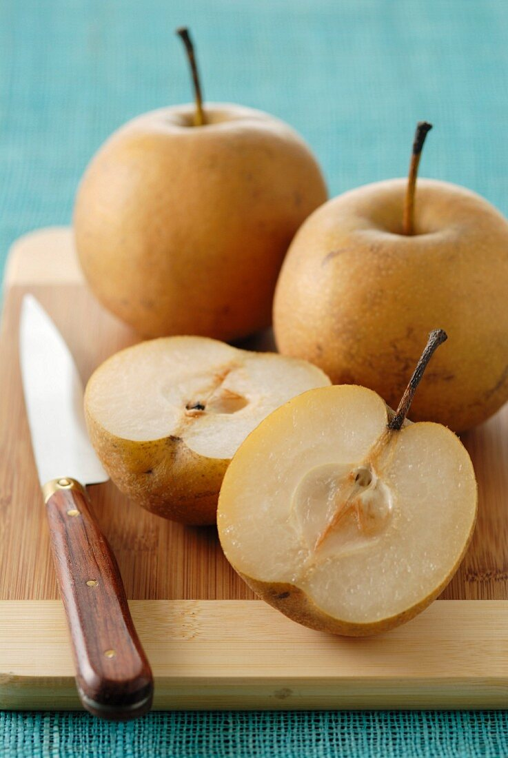 Nachis pears with one cut in half