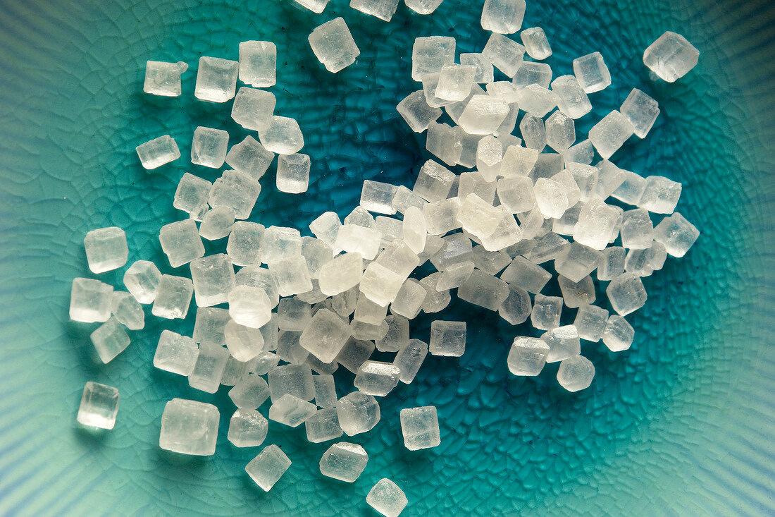 Heap of tiny squares of white sugar