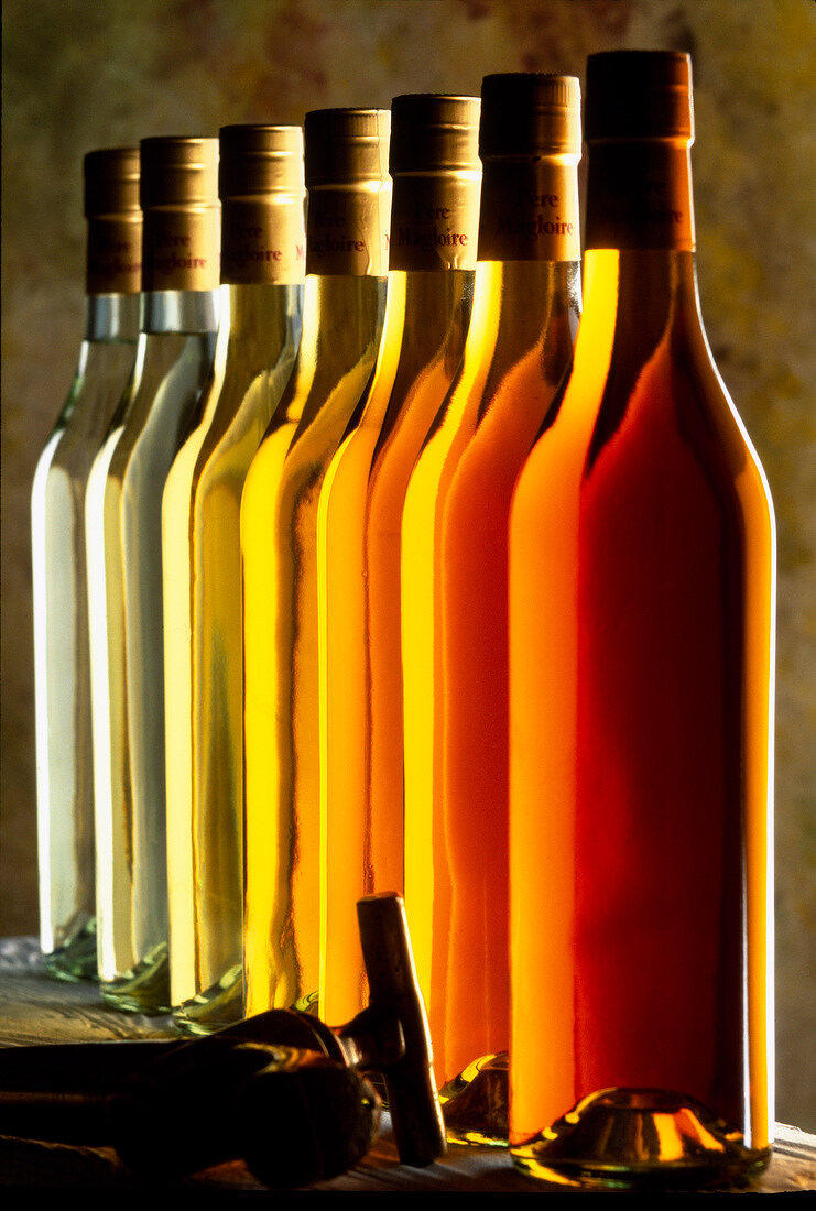 Graduated bottles of Normandy calvados