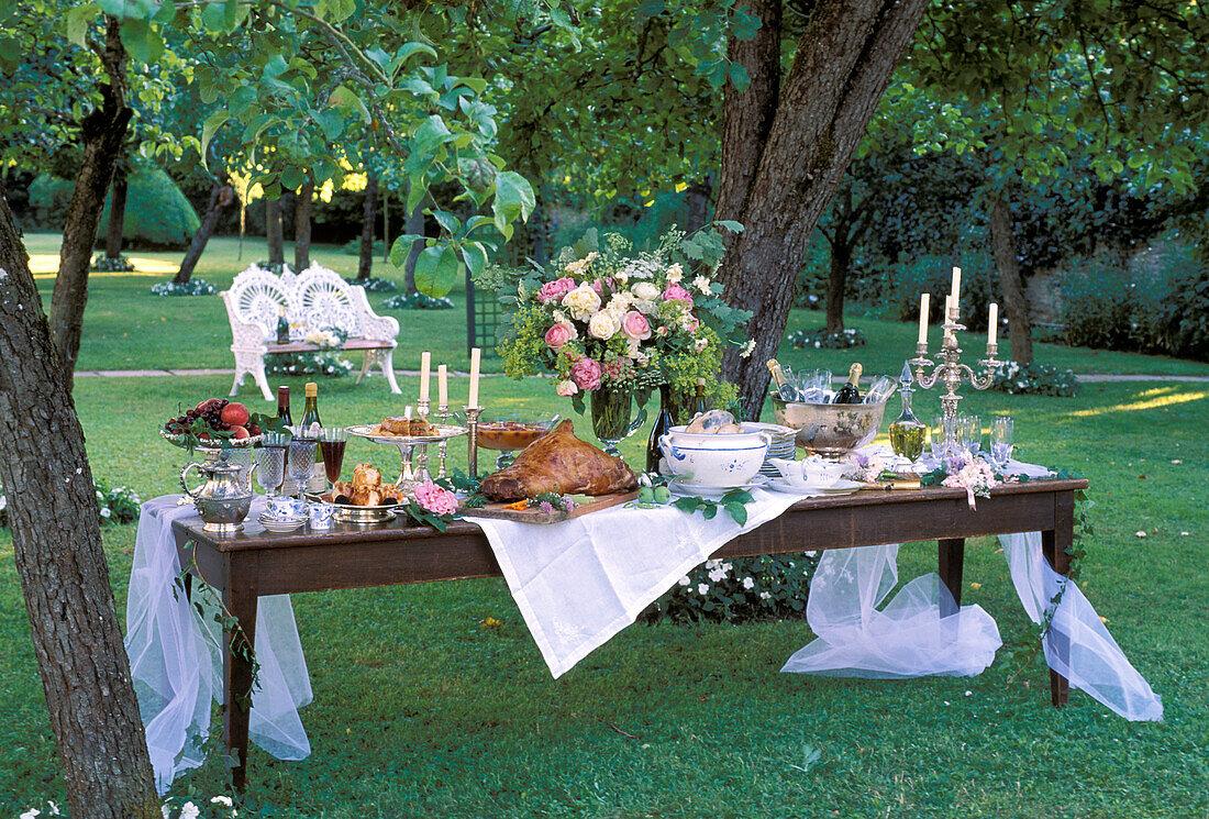 wedding table set outside