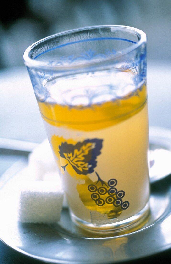 Peppermint tea in a glass