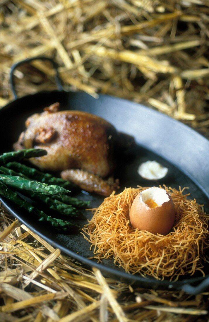 Honey-glazed spring chicken and a soft-boiled egg