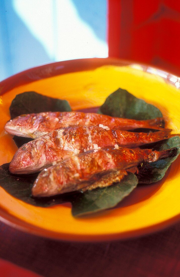 Provençal-style grilled red mullet on a bright yellow plate