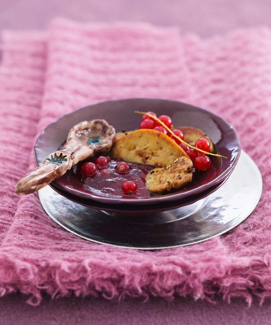 Foie gras with redcurrants