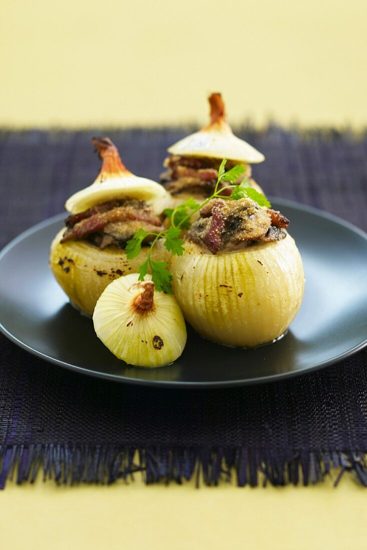 Onions stuffed with mushrooms and diced bacon