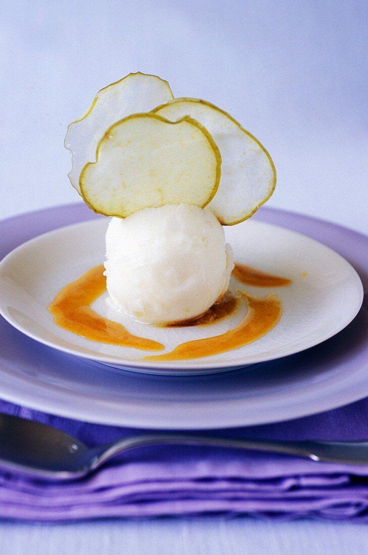 Apple sorbet with apple crisps