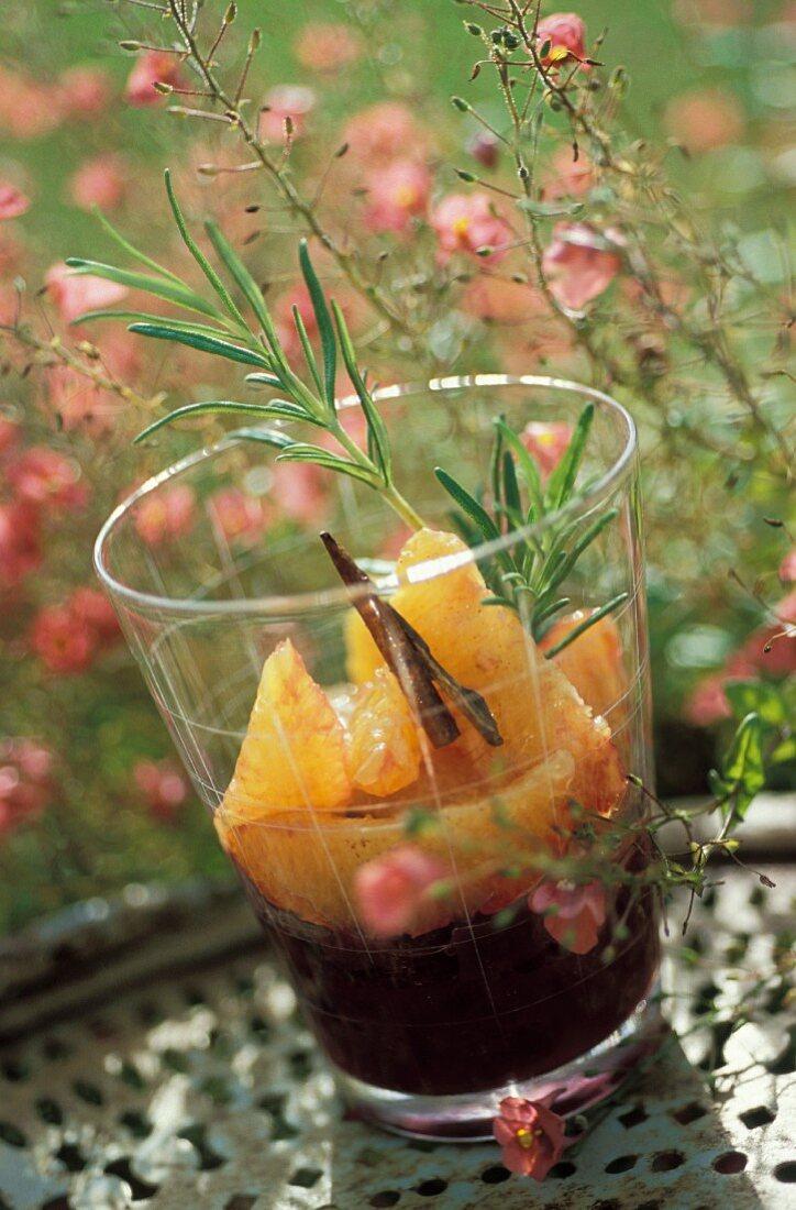Orange in red wine with cinnamon and rosemary verrine