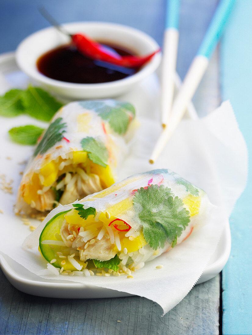 Chicken and mango spring rolls