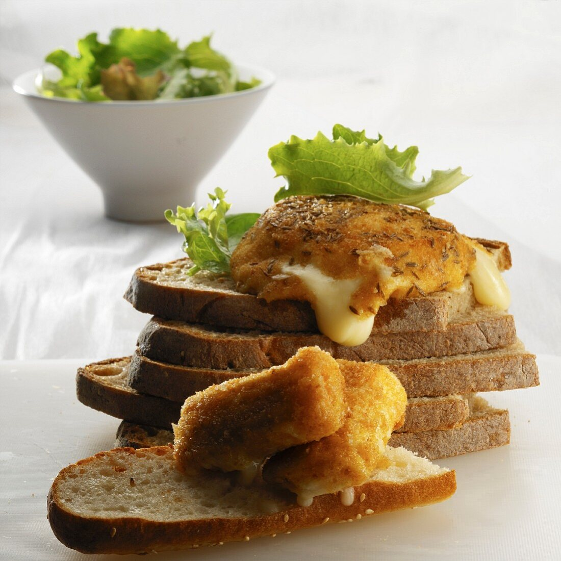 Baked cheese on country bread