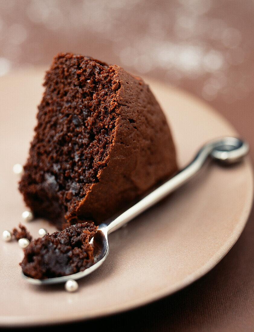 Portion of chocolate cake