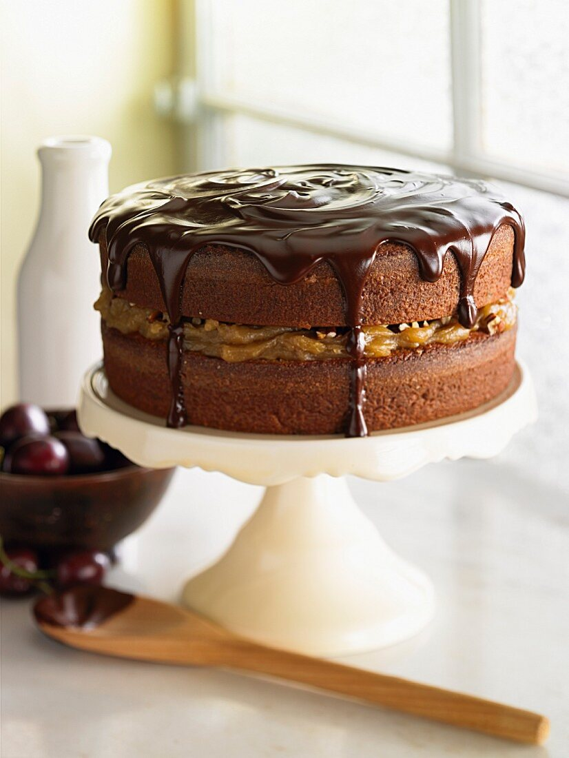 Chocolate cake with chestnut cream and dried fruit
