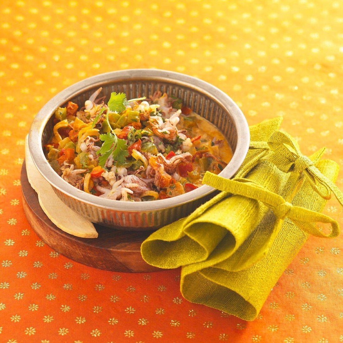 Quick stir-fried seafood dish