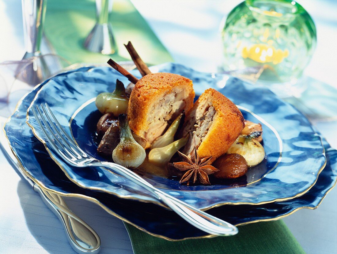 Lamb and chestnut cakes with licorice sauce