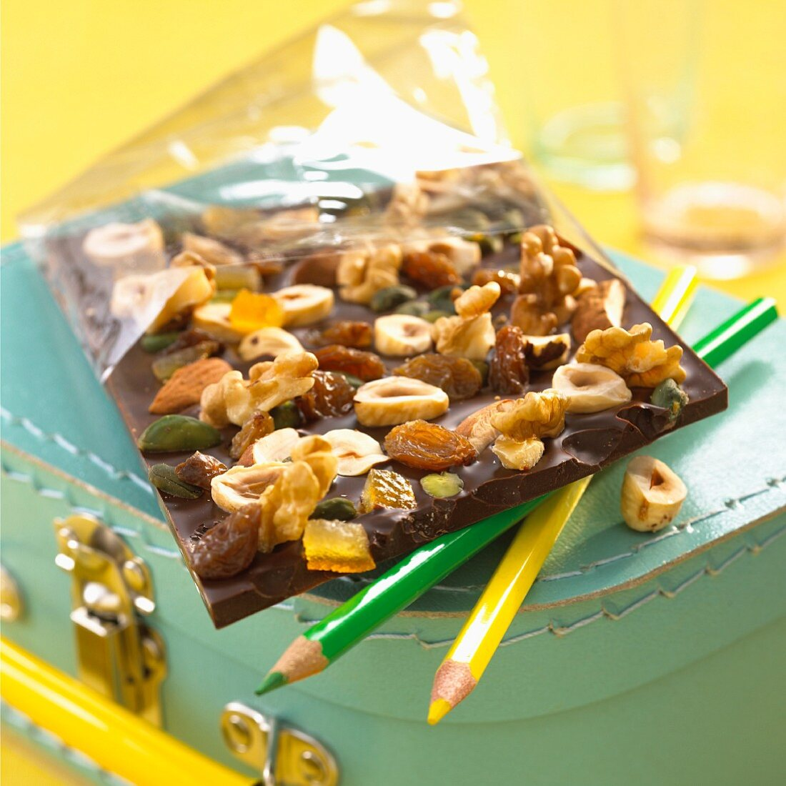 Chocolate with mixed nuts and fruit