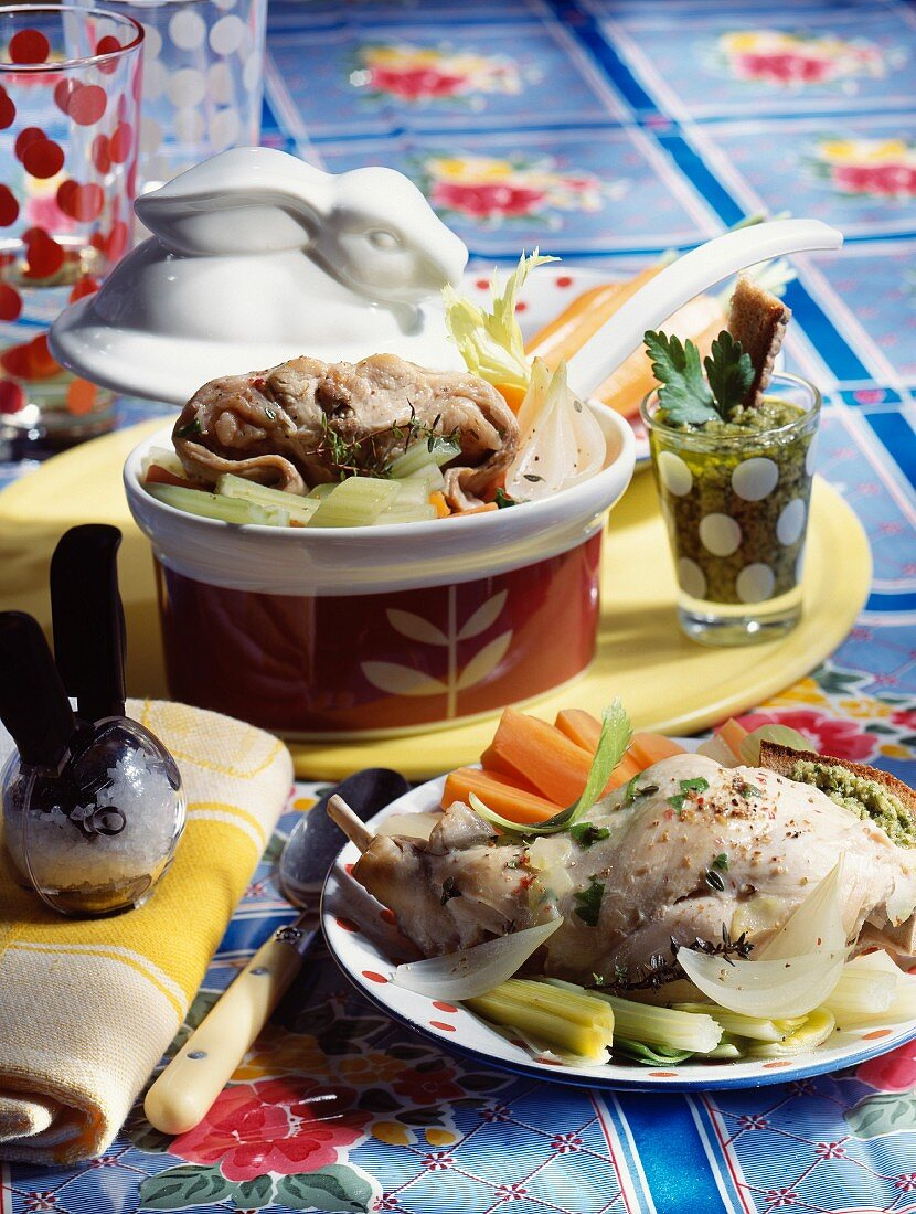 Rabbit Pot-au-feu with salsa verde