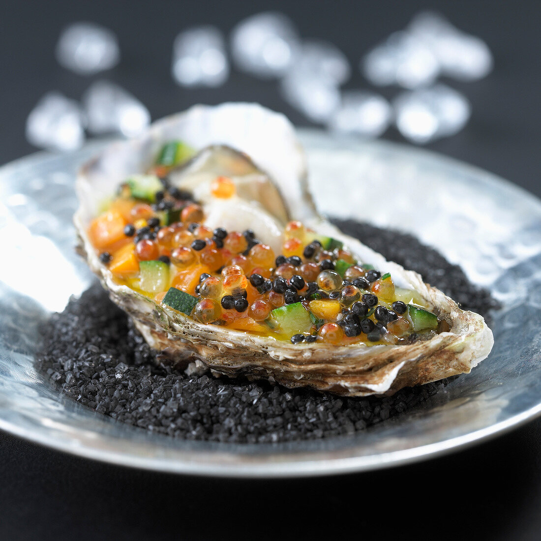 Cold oyster with fish roe and small vegetables