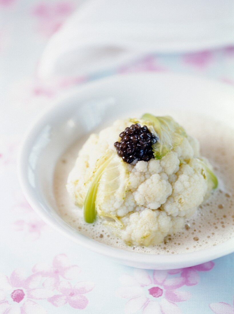 Cauliflower with caviar and fish stock