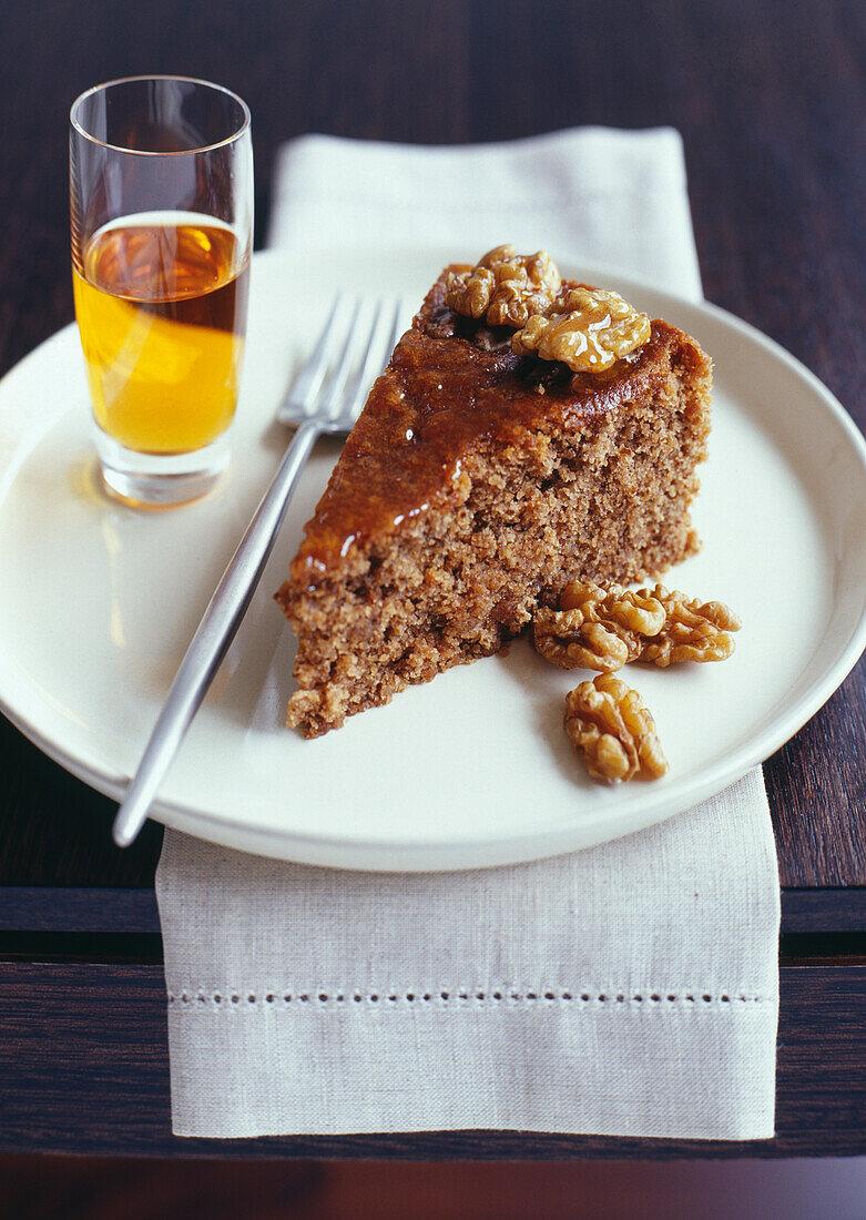 Portion of walnut cake