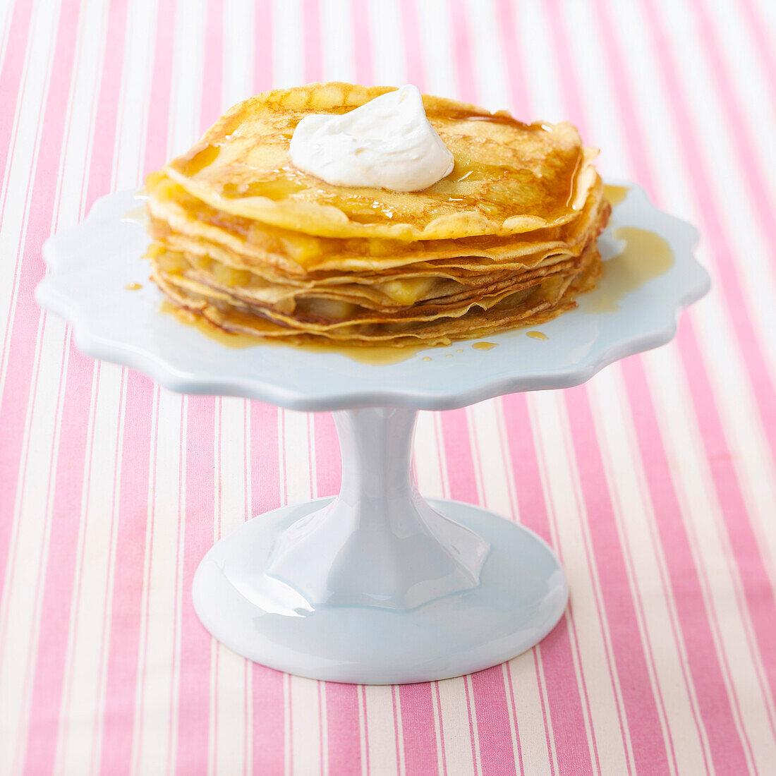 Pancake and stewed apple cake