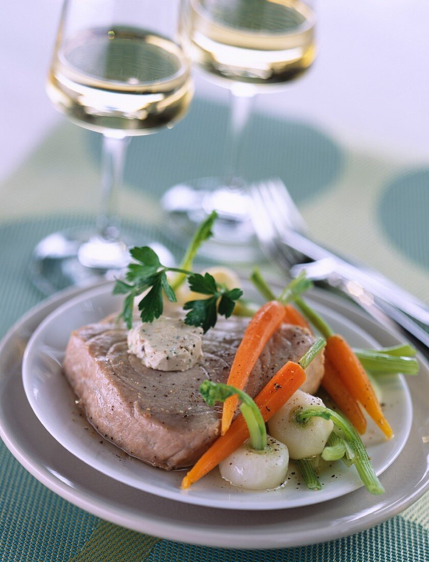 Tuna Pot-au-feu with anchovy butter