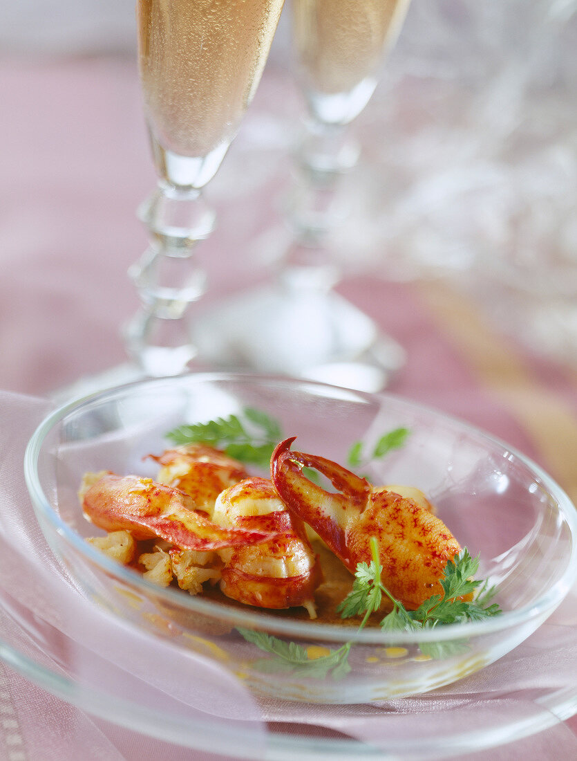 Lobster sauteed with Jerez and saffron