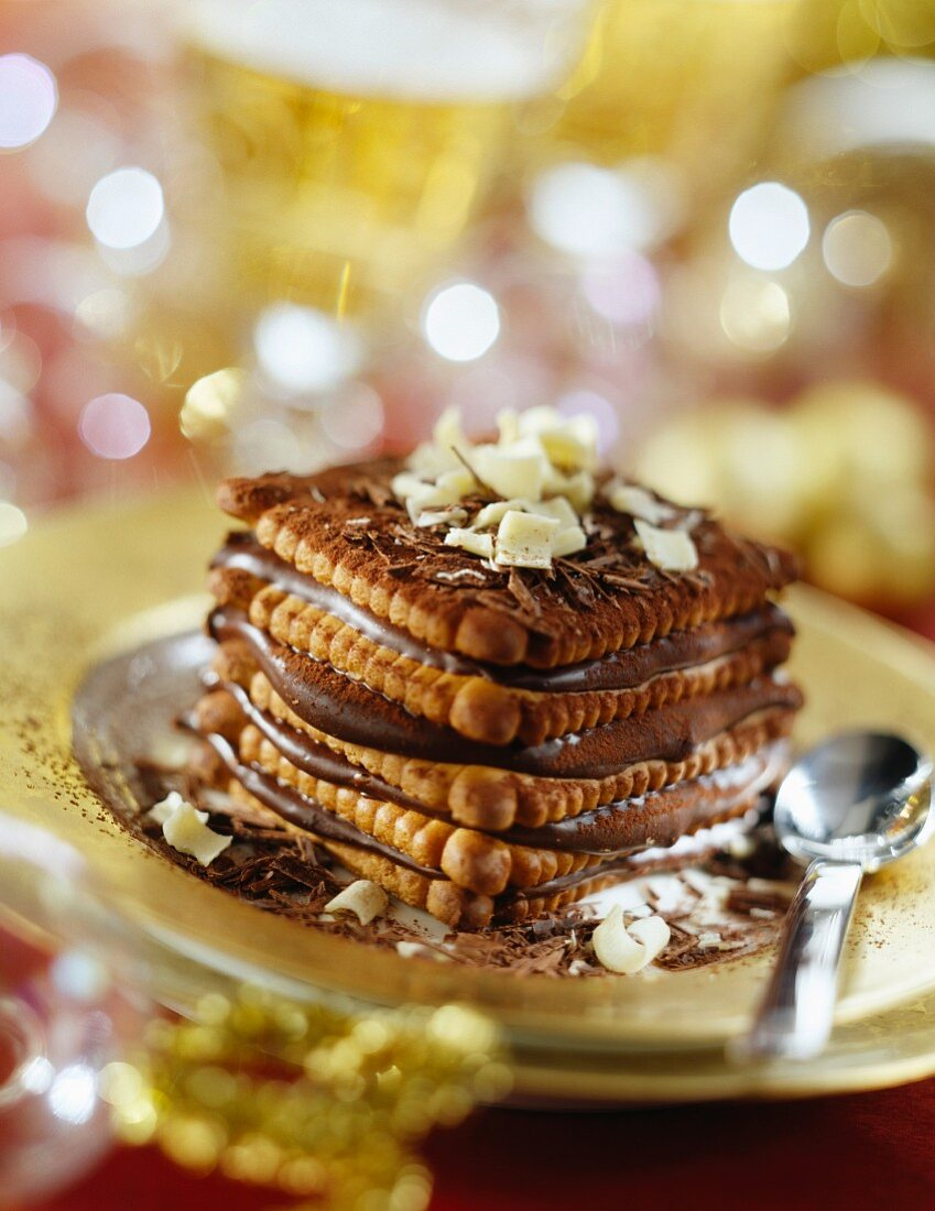 Rich tea biscuit and chocolate Mille-feuille