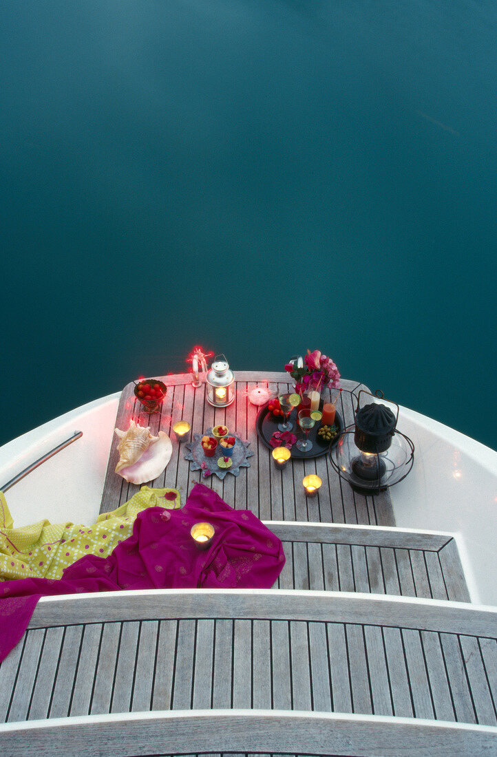 Party cocktails on the rear of the yacht