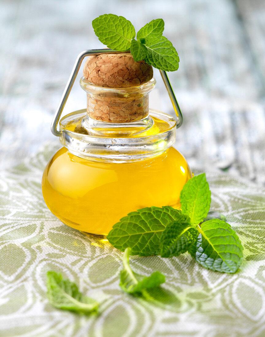 Small bottle of mint oil