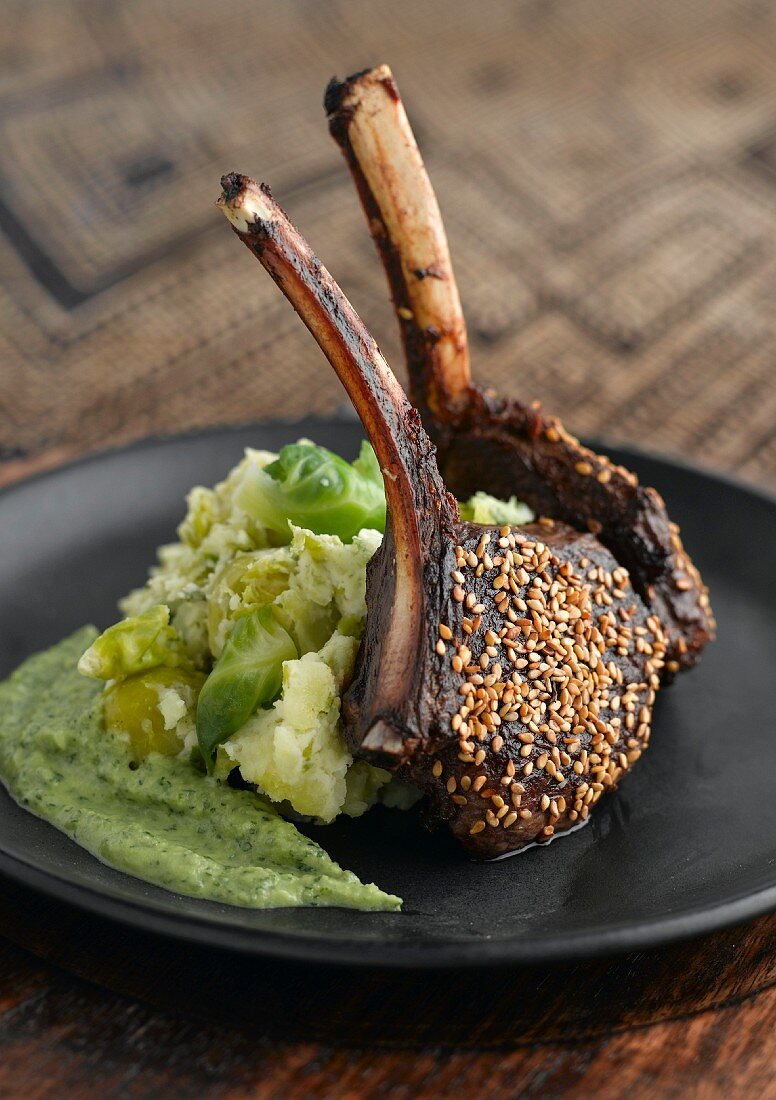 Doe chops with brussels sprout puree