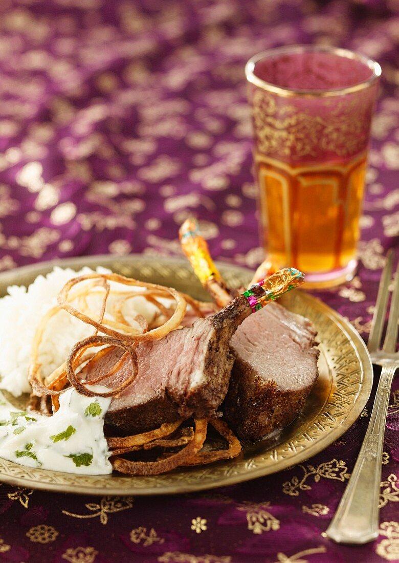Indian-style roast lamb chops with yoghurt sauce