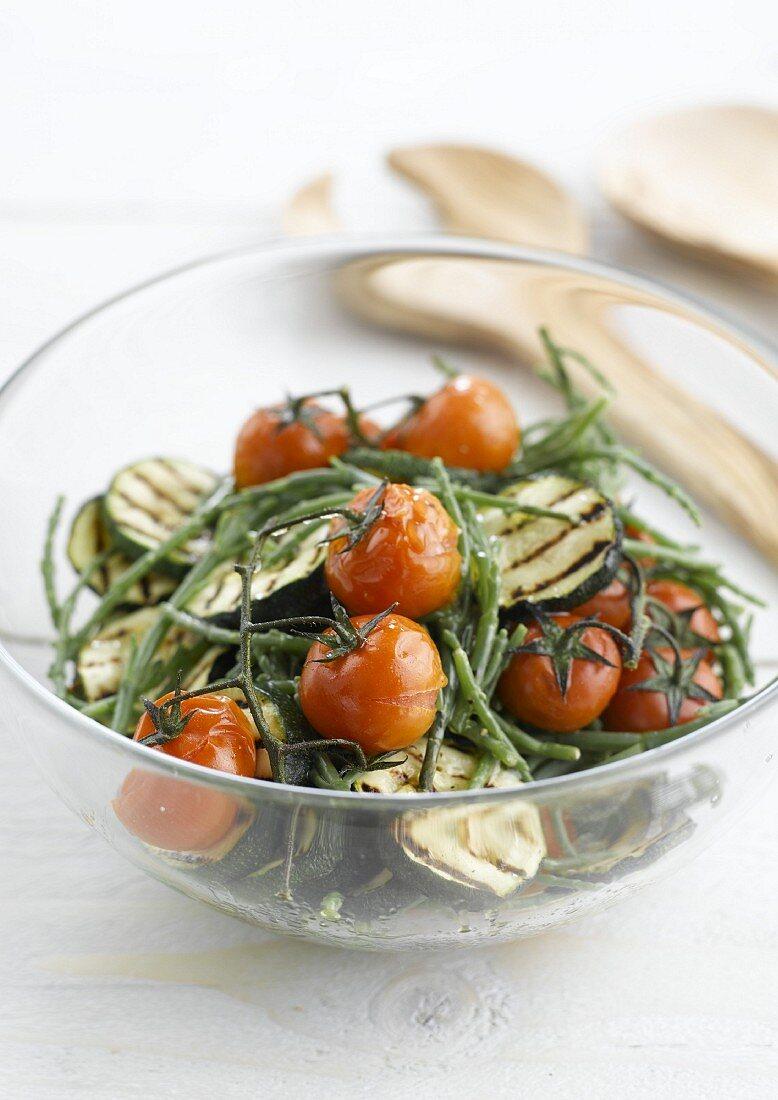 Warm seaweed, grilled zucchini and tomato salad
