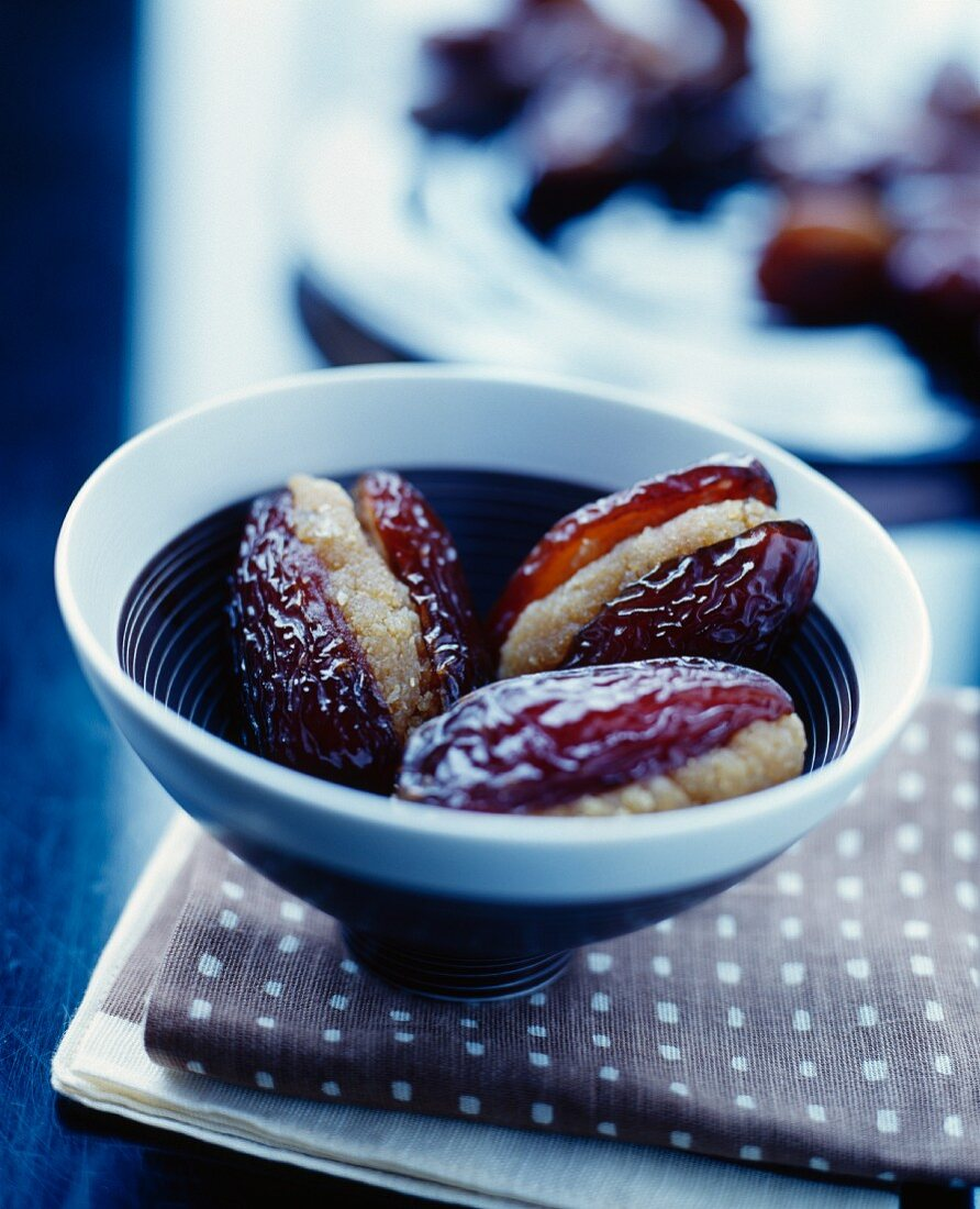 Dates with almonds and madeleines