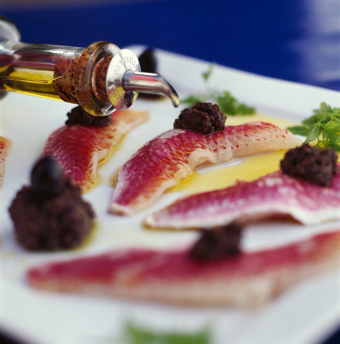Red mullet fillets with tapenade (black olive paste)