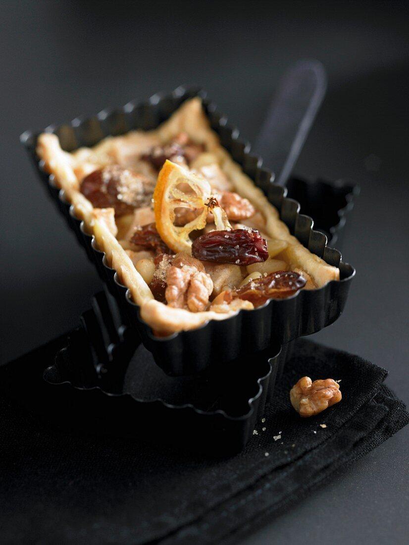 A dried fruit tartlet