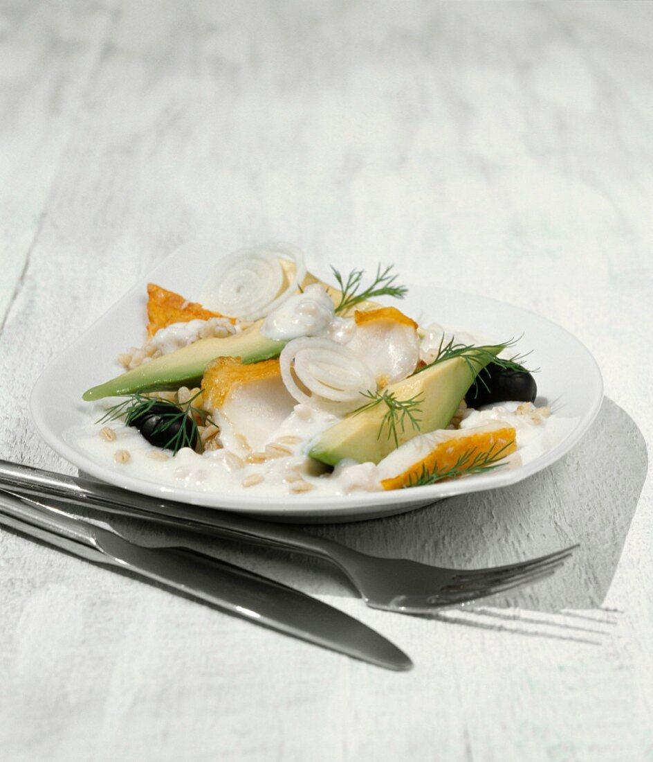 Avocado salad with barley, haddock and yoghurt sauce