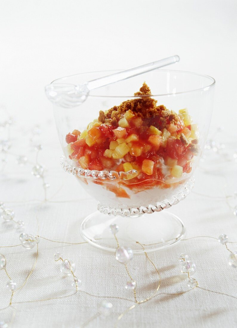 Fruit salad with strawberries, pineapple, tomato juice and Szechuan pepper